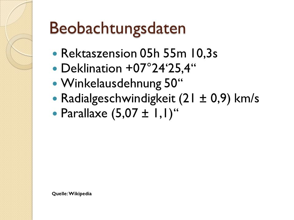 Beobachtungsdaten Rektaszension 05h 55m 10,3s Deklination +07°24'25,4'' Winkelausdehnung 50'' Radialgeschwindigkeit (21 ± 0,9) km/s Parallaxe (5,07 ±