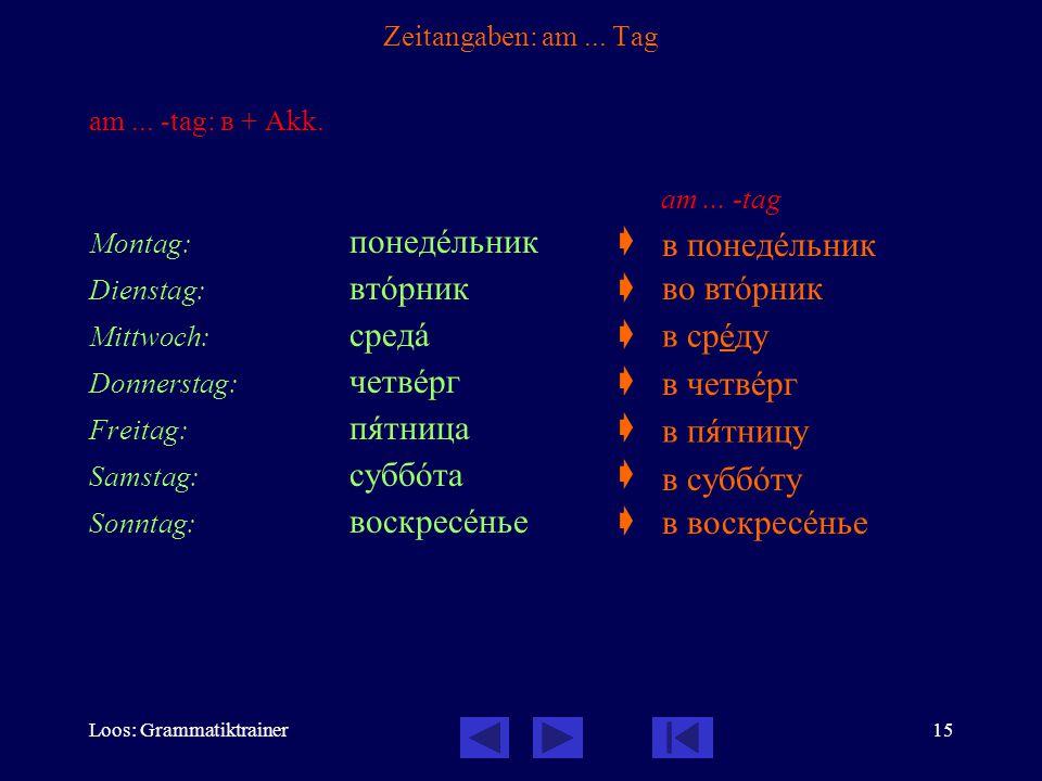 Loos: Grammatiktrainer15 Zeitangaben: am... Tag am...