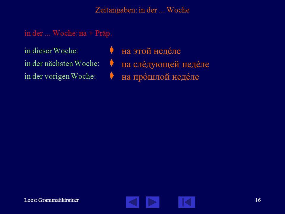 Loos: Grammatiktrainer16 Zeitangaben: in der... Woche in der...
