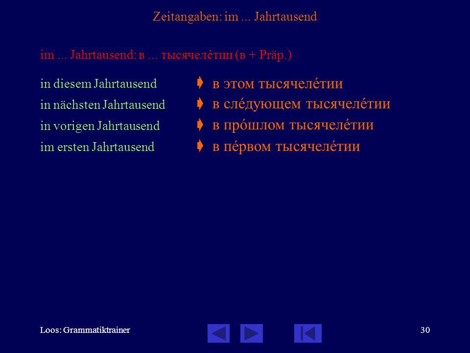 Loos: Grammatiktrainer30 Zeitangaben: im... Jahrtausend im...