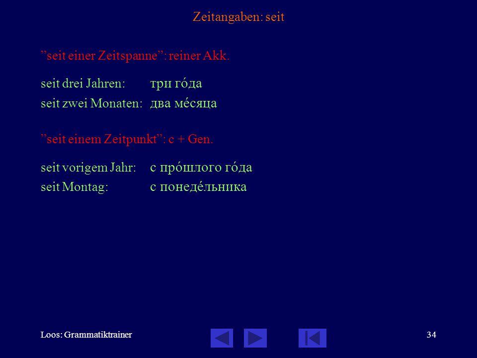 Loos: Grammatiktrainer34 Zeitangaben: seit seit einer Zeitspanne : reiner Akk.
