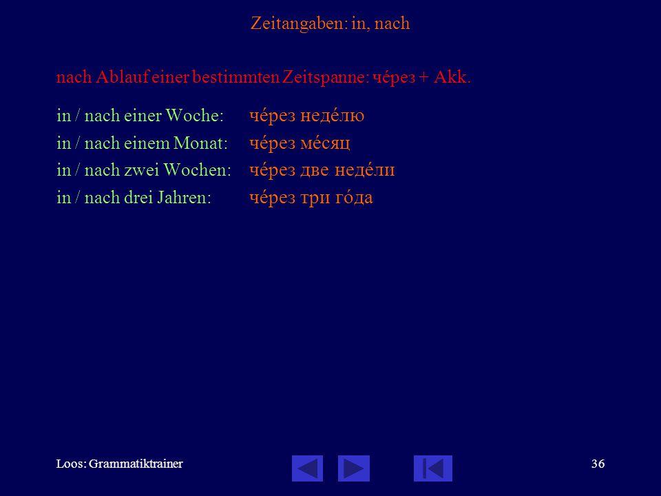 Loos: Grammatiktrainer36 Zeitangaben: in, nach nach Ablauf einer bestimmten Zeitspanne: чåрез + Akk. in / nach einer Woche: чåрез недåлю in / nach ein