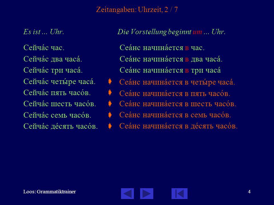 Loos: Grammatiktrainer4 Zeitangaben: Uhrzeit, 2 / 7 Es ist... Uhr. Die Vorstellung beginnt um... Uhr. Сейчàс час. Сеàнс начинàется в час. Сейчàс два ч