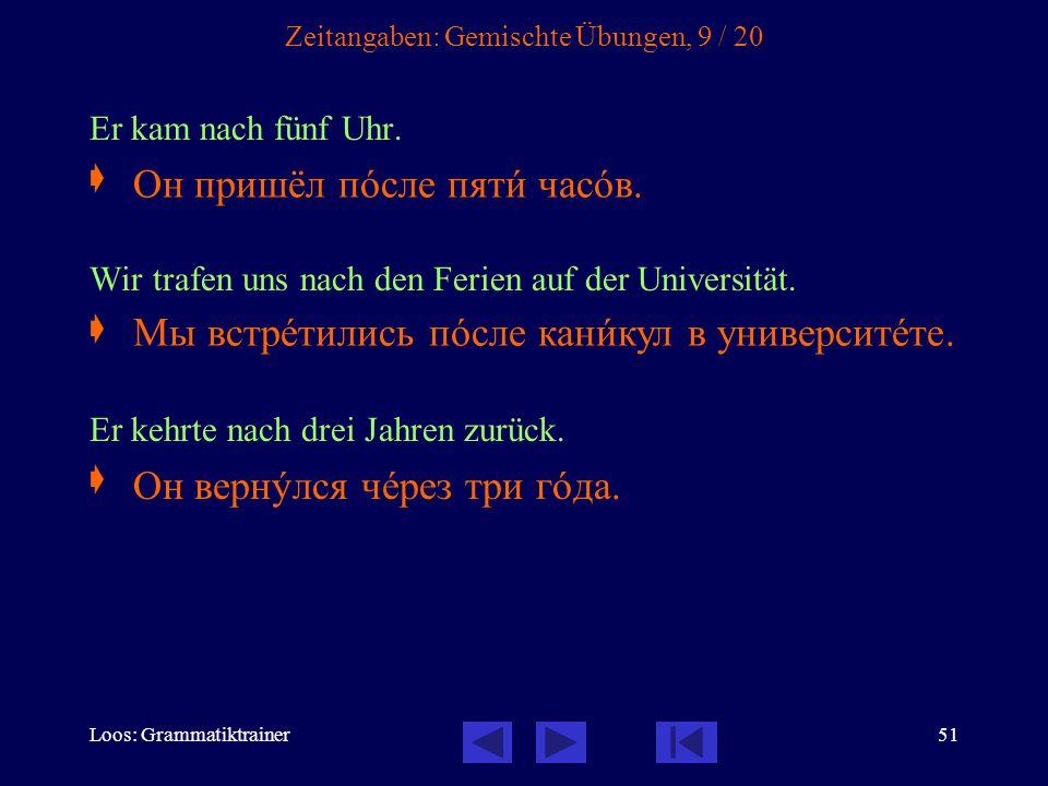 Loos: Grammatiktrainer51 Zeitangaben: Gemischte Übungen, 9 / 20 Er kam nach fünf Uhr.
