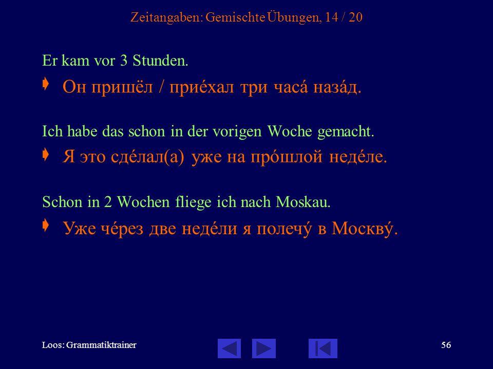 Loos: Grammatiktrainer56 Zeitangaben: Gemischte Übungen, 14 / 20 Er kam vor 3 Stunden.
