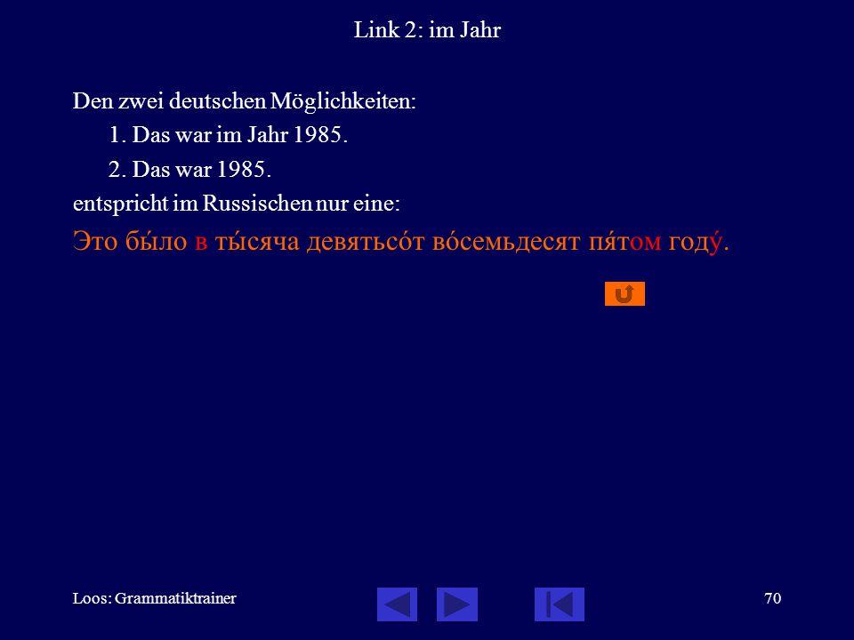 Loos: Grammatiktrainer70 Link 2: im Jahr Den zwei deutschen Möglichkeiten: 1.