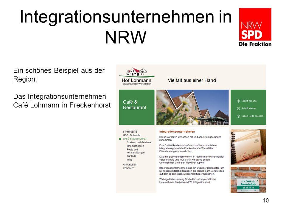 Integrationsunternehmen in NRW 10 Ein schönes Beispiel aus der Region: Das Integrationsunternehmen Café Lohmann in Freckenhorst