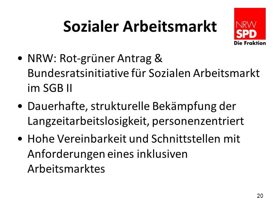 Sozialer Arbeitsmarkt NRW: Rot-grüner Antrag & Bundesratsinitiative für Sozialen Arbeitsmarkt im SGB II Dauerhafte, strukturelle Bekämpfung der Langzeitarbeitslosigkeit, personenzentriert Hohe Vereinbarkeit und Schnittstellen mit Anforderungen eines inklusiven Arbeitsmarktes 20