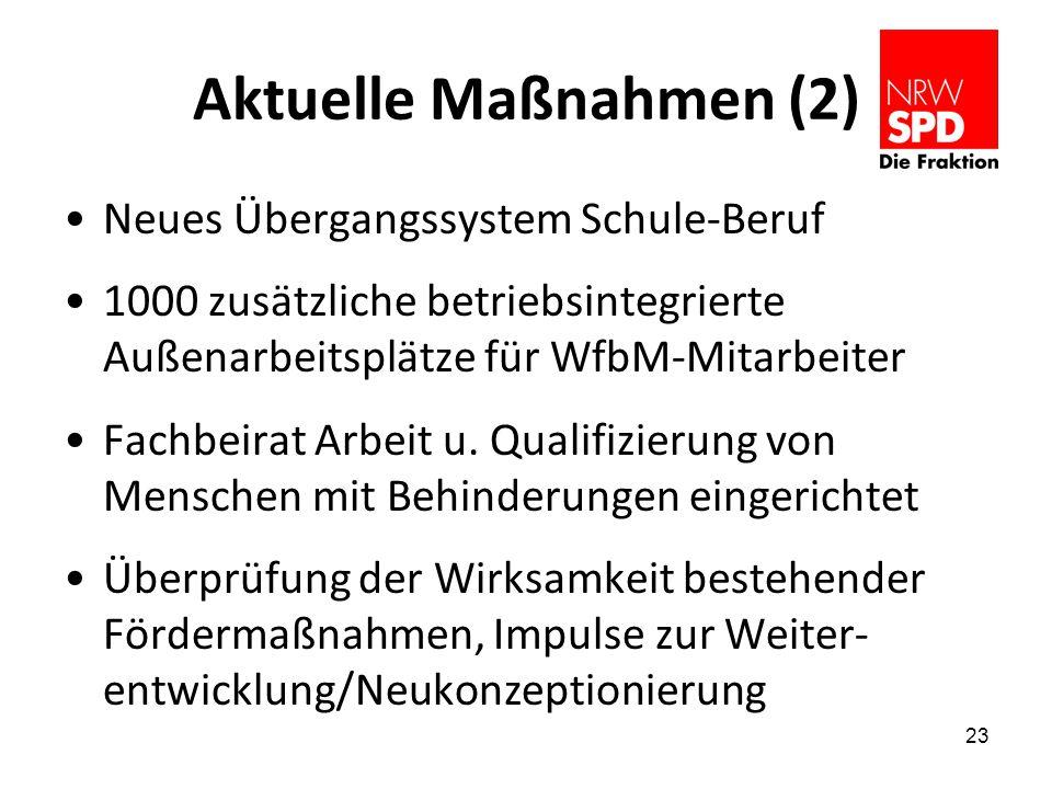 Aktuelle Maßnahmen (2) Neues Übergangssystem Schule-Beruf 1000 zusätzliche betriebsintegrierte Außenarbeitsplätze für WfbM-Mitarbeiter Fachbeirat Arbeit u.