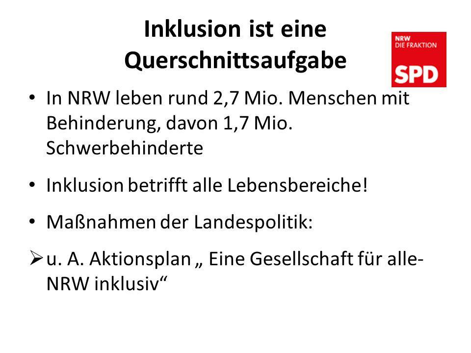 Inklusion ist eine Querschnittsaufgabe In NRW leben rund 2,7 Mio.
