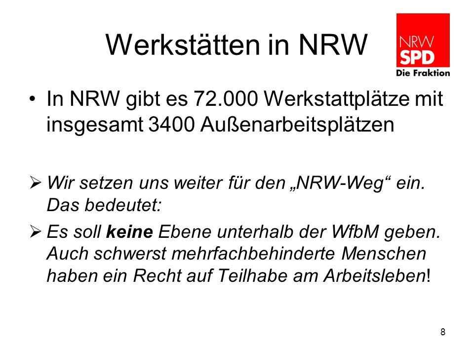 """Werkstätten in NRW In NRW gibt es 72.000 Werkstattplätze mit insgesamt 3400 Außenarbeitsplätzen  Wir setzen uns weiter für den """"NRW-Weg ein."""