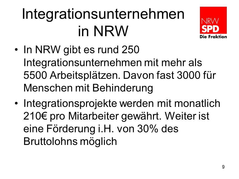 Integrationsunternehmen in NRW In NRW gibt es rund 250 Integrationsunternehmen mit mehr als 5500 Arbeitsplätzen.