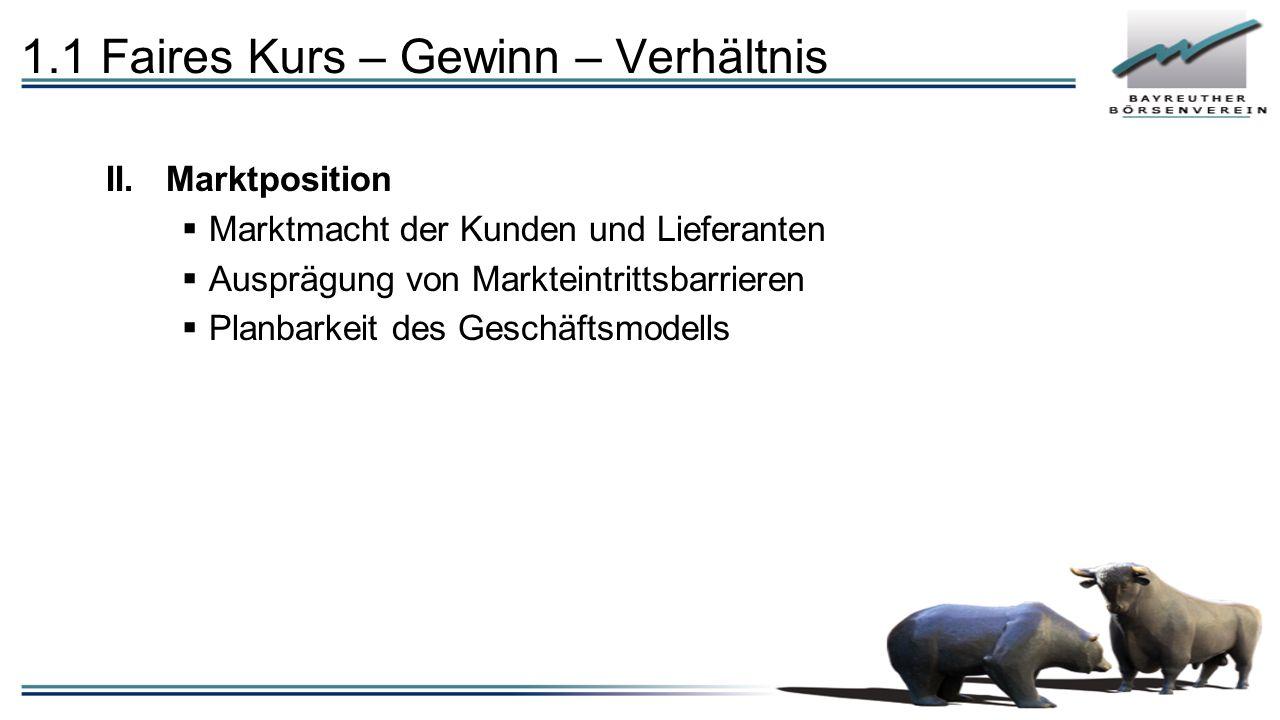 1.1 Faires Kurs – Gewinn – Verhältnis II.Marktposition  Marktmacht der Kunden und Lieferanten  Ausprägung von Markteintrittsbarrieren  Planbarkeit