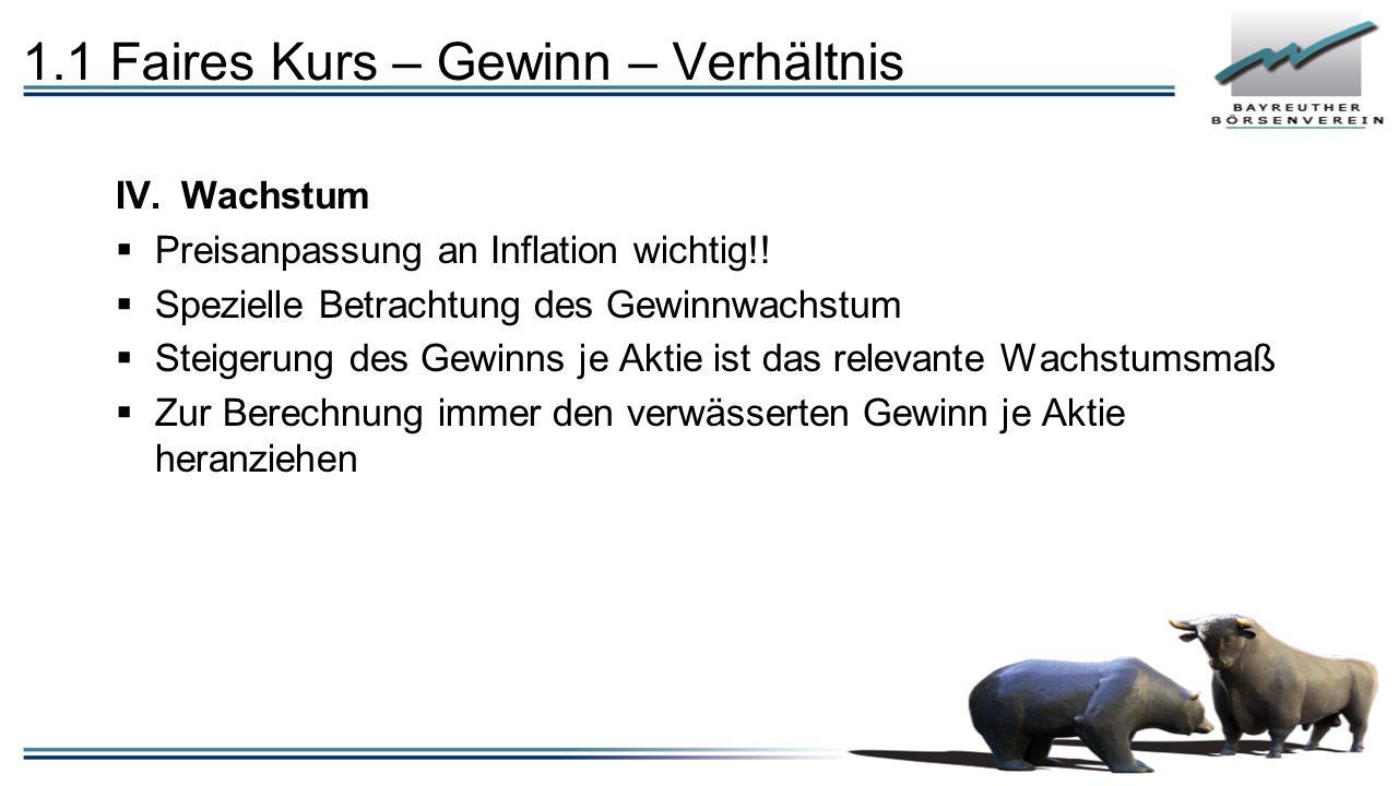 1.1 Faires Kurs – Gewinn – Verhältnis IV.Wachstum  Preisanpassung an Inflation wichtig!!  Spezielle Betrachtung des Gewinnwachstum  Steigerung des