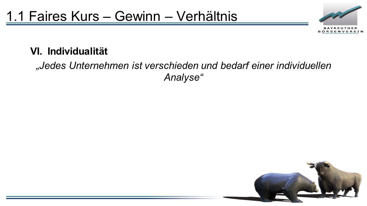 """1.1 Faires Kurs – Gewinn – Verhältnis VI.Individualität """"Jedes Unternehmen ist verschieden und bedarf einer individuellen Analyse"""""""