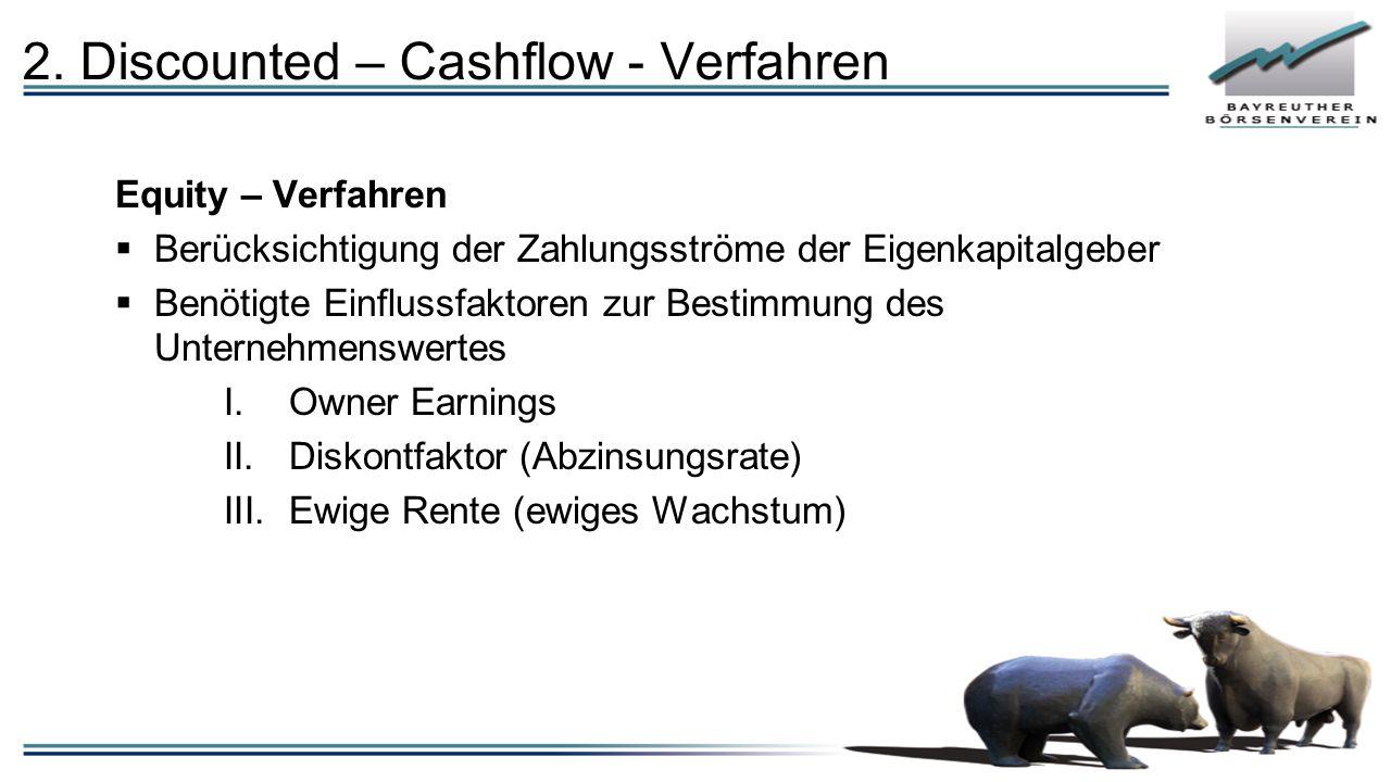Equity – Verfahren  Berücksichtigung der Zahlungsströme der Eigenkapitalgeber  Benötigte Einflussfaktoren zur Bestimmung des Unternehmenswertes I.Ow