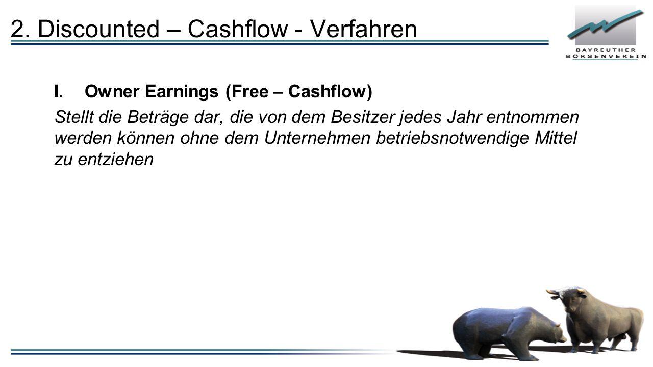 2. Discounted – Cashflow - Verfahren I.Owner Earnings (Free – Cashflow) Stellt die Beträge dar, die von dem Besitzer jedes Jahr entnommen werden könne