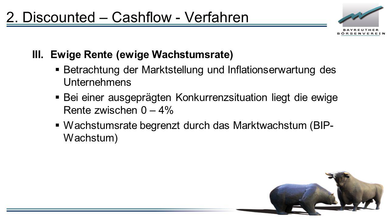 III.Ewige Rente (ewige Wachstumsrate)  Betrachtung der Marktstellung und Inflationserwartung des Unternehmens  Bei einer ausgeprägten Konkurrenzsitu