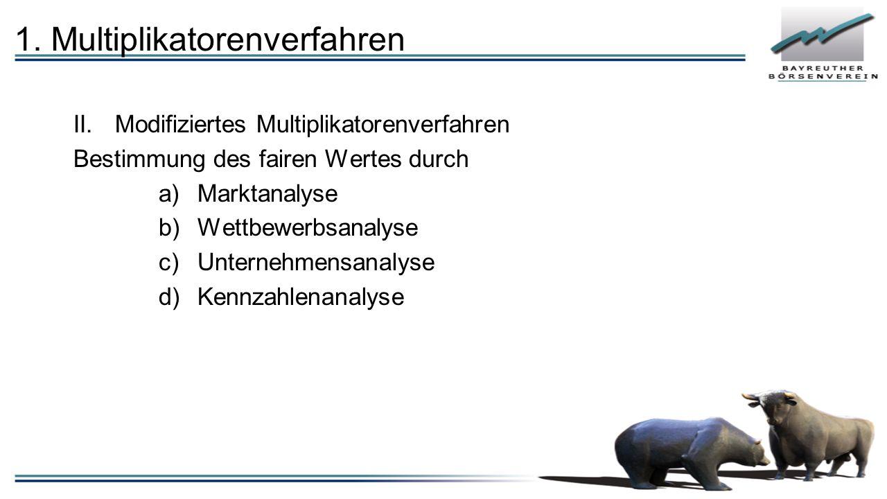 1. Multiplikatorenverfahren II.Modifiziertes Multiplikatorenverfahren Bestimmung des fairen Wertes durch a)Marktanalyse b)Wettbewerbsanalyse c)Unterne