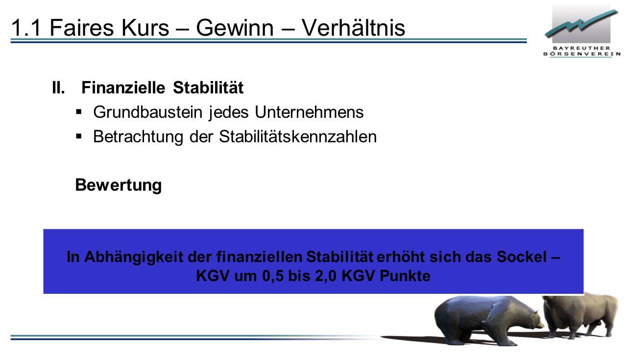 1.1 Faires Kurs – Gewinn – Verhältnis II.Finanzielle Stabilität  Grundbaustein jedes Unternehmens  Betrachtung der Stabilitätskennzahlen Bewertung I