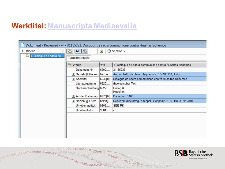 Werktitel: Manuscripta MediaevaliaManuscripta Mediaevalia