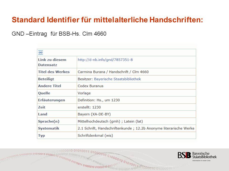 Standard Identifier für mittelalterliche Handschriften: GND –Eintrag für BSB-Hs. Clm 4660
