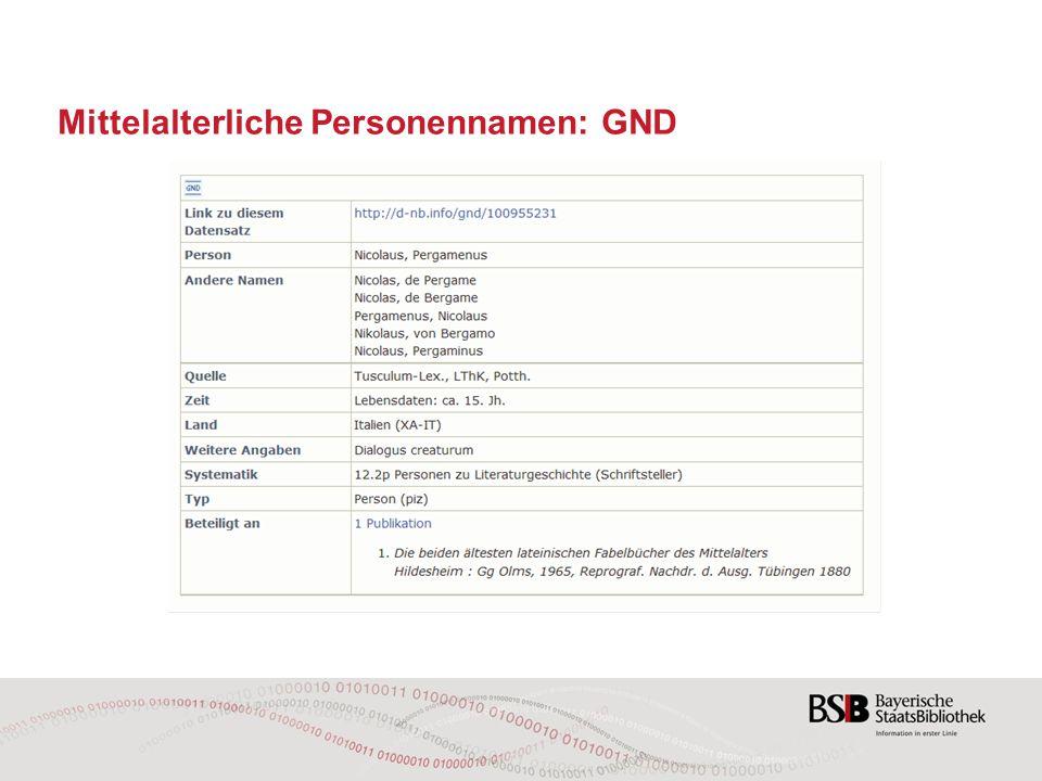 Mittelalterliche Personennamen: GND