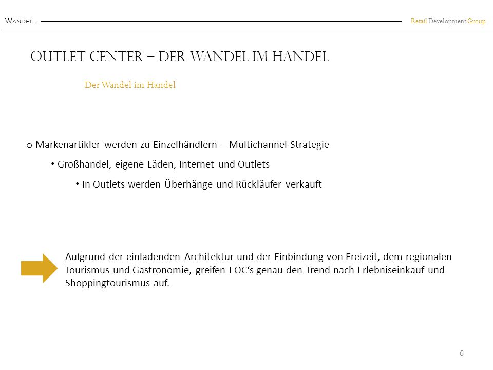 Retail Development Group Wandel Outlet Center – Der Wandel im Handel o Markenartikler werden zu Einzelhändlern – Multichannel Strategie Großhandel, ei