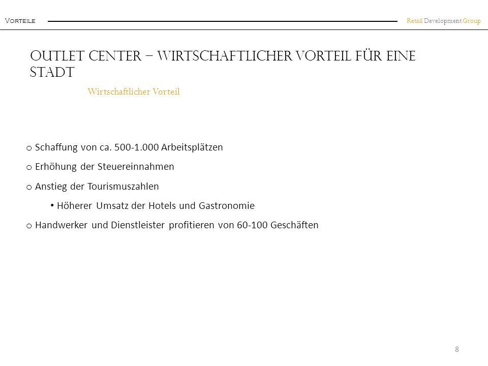 Retail Development Group Einzugsgebiet Beispiel: F actory O utlet C enter Königswinter 19 Das Einzugsgebiet - Im Süden des bevölkerungsreichsten Bundeslandes Deutschlands o 30 Minuten Fahrtzeit: o Einwohner ca.