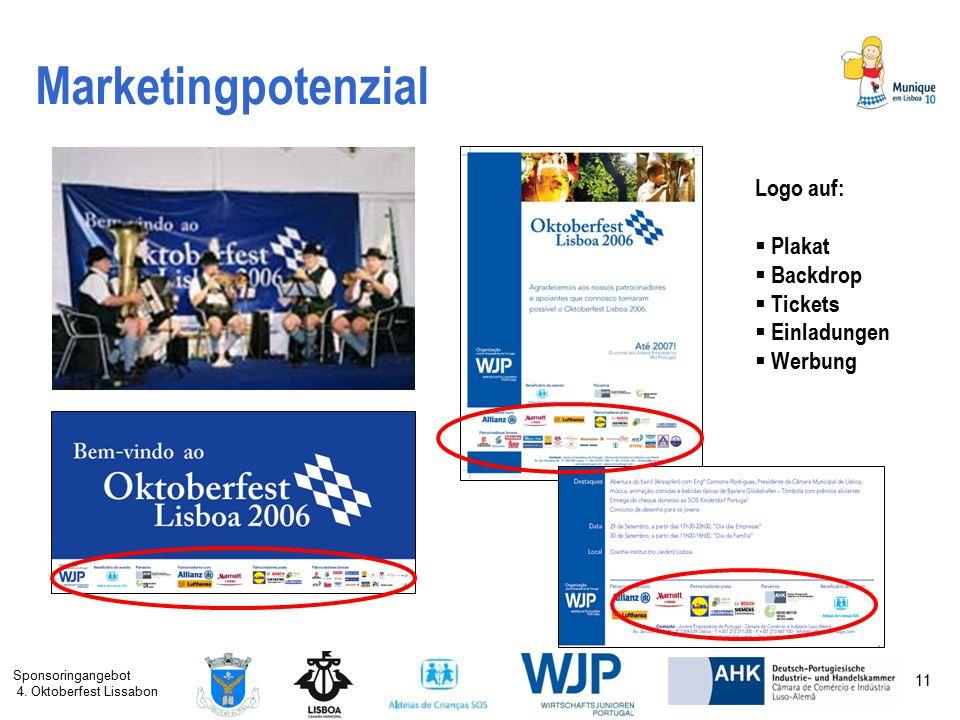 Sponsoringangebot 4. Oktoberfest Lissabon 11 Marketingpotenzial Logo auf:  Plakat  Backdrop  Tickets  Einladungen  Werbung