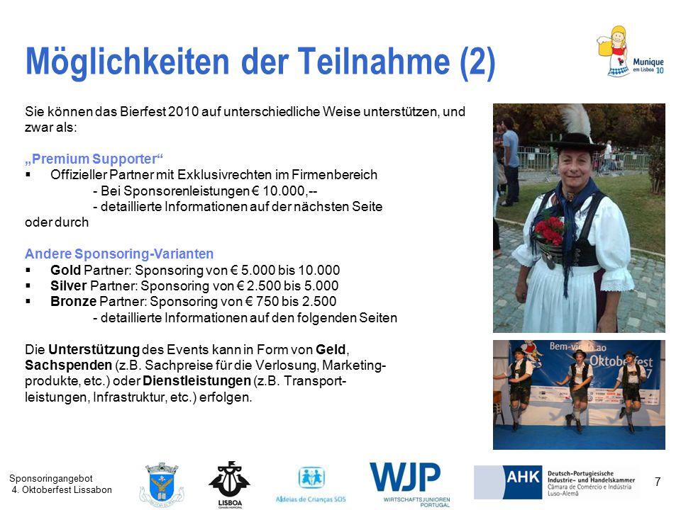 Sponsoringangebot 4. Oktoberfest Lissabon 7 Möglichkeiten der Teilnahme (2) Sie können das Bierfest 2010 auf unterschiedliche Weise unterstützen, und