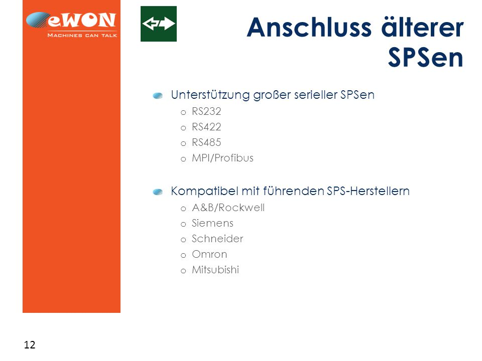 12 Anschluss älterer SPSen Unterstützung großer serieller SPSen o RS232 o RS422 o RS485 o MPI/Profibus Kompatibel mit führenden SPS-Herstellern o A&B/Rockwell o Siemens o Schneider o Omron o Mitsubishi