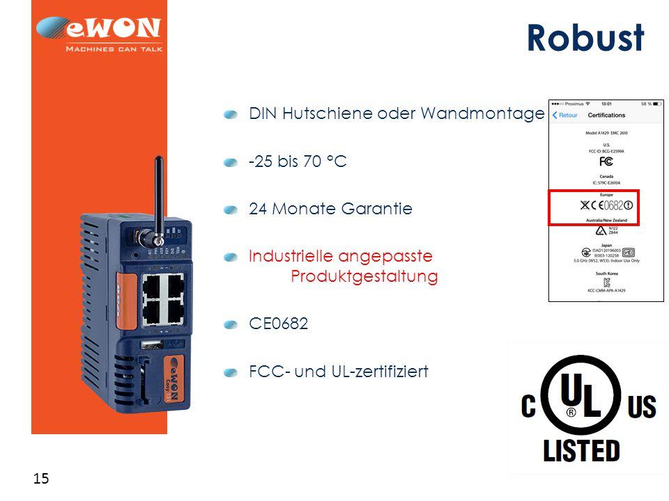 15 Robust DIN Hutschiene oder Wandmontage -25 bis 70 °C 24 Monate Garantie Industrielle angepasste Produktgestaltung CE0682 FCC- und UL-zertifiziert