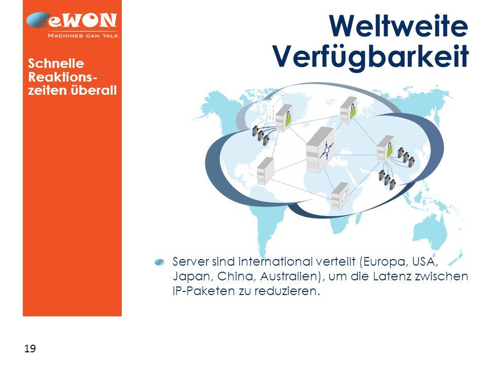 19 Weltweite Verfügbarkeit Schnelle Reaktions- zeiten überall Server sind international verteilt (Europa, USA, Japan, China, Australien), um die Latenz zwischen IP-Paketen zu reduzieren.
