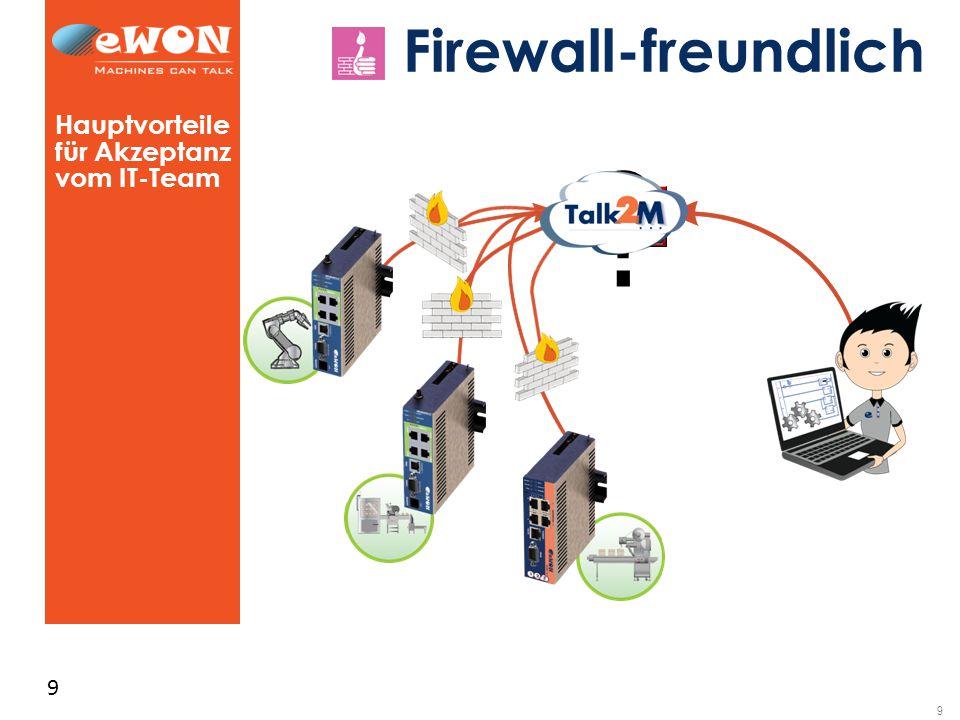 9 9 Firewall-freundlich Hauptvorteile für Akzeptanz vom IT-Team ?
