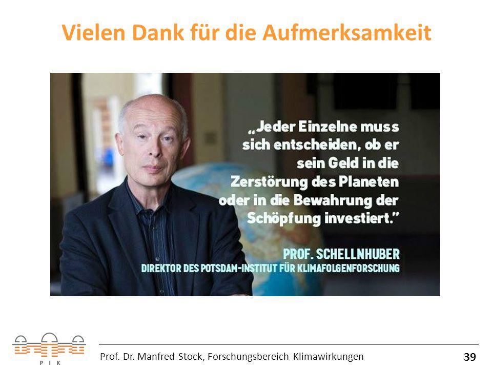 Vielen Dank für die Aufmerksamkeit 39 Prof. Dr. Manfred Stock, Forschungsbereich Klimawirkungen