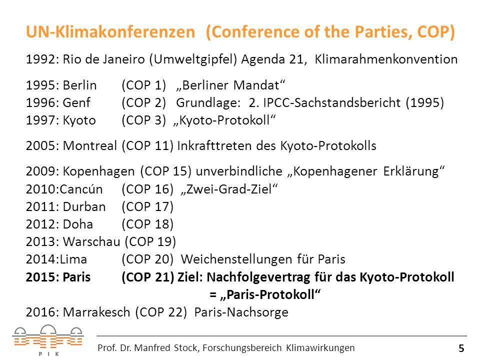 UN-Klimakonferenzen (Conference of the Parties, COP) 5 Prof.