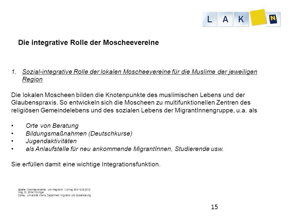15 1.Sozial-integrative Rolle der lokalen Moscheevereine für die Muslime der jeweiligen Region Die lokalen Moscheen bilden die Knotenpunkte des muslim