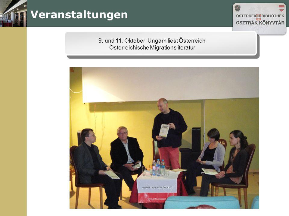 Veranstaltungen 9. und 11. Oktober Ungarn liest Österreich Österreichische Migrationsliteratur