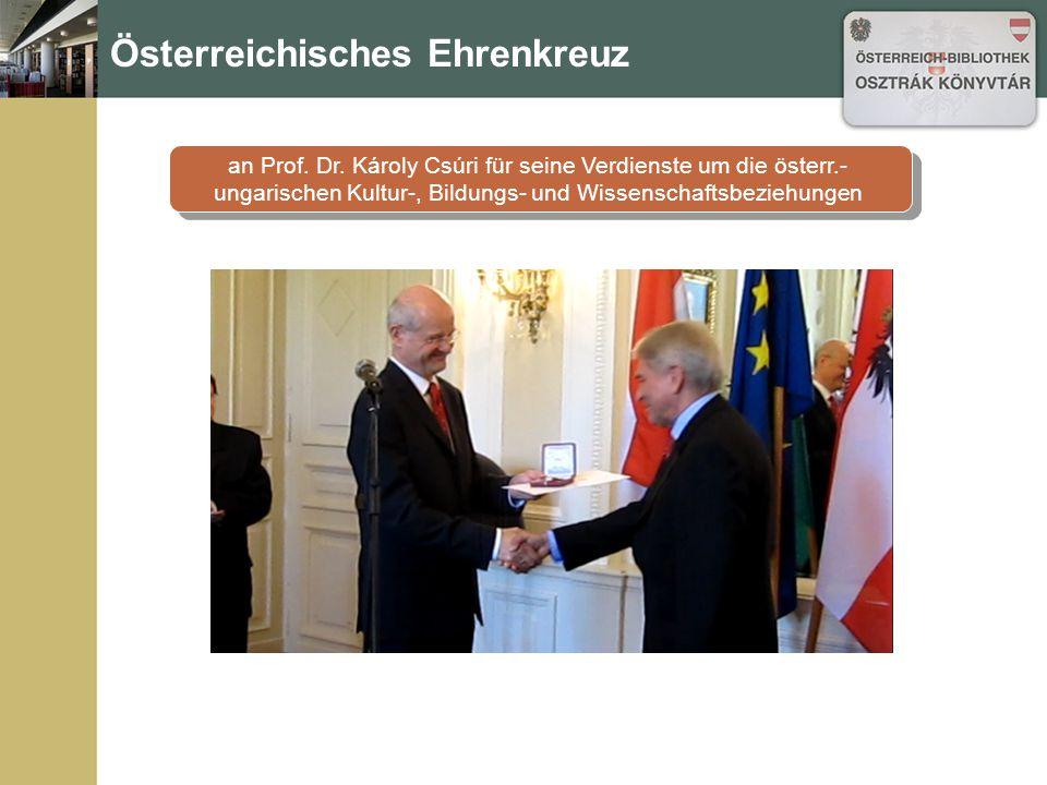 Österreichisches Ehrenkreuz an Prof. Dr.