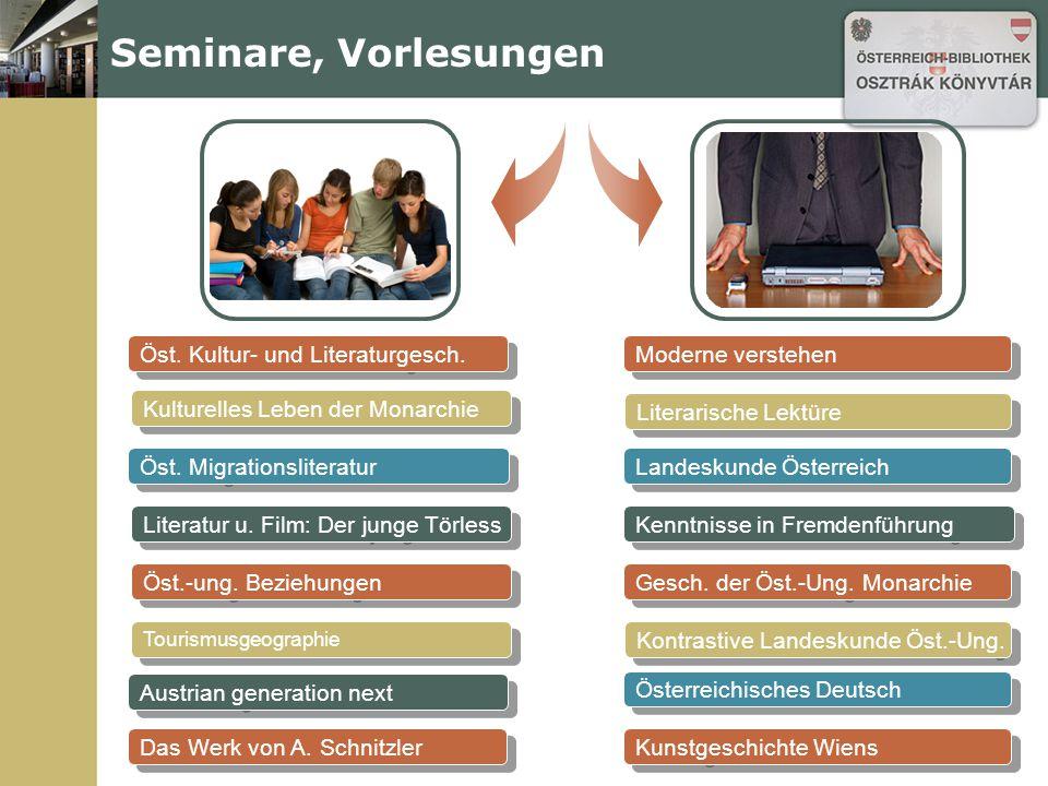 Öst. Kultur- und Literaturgesch. Seminare, Vorlesungen Kulturelles Leben der Monarchie Öst.