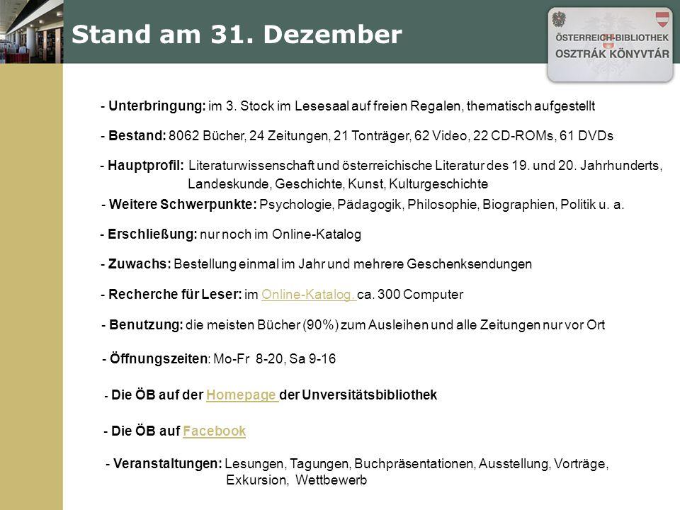 Stand am 31. Dezember - Unterbringung: im 3.