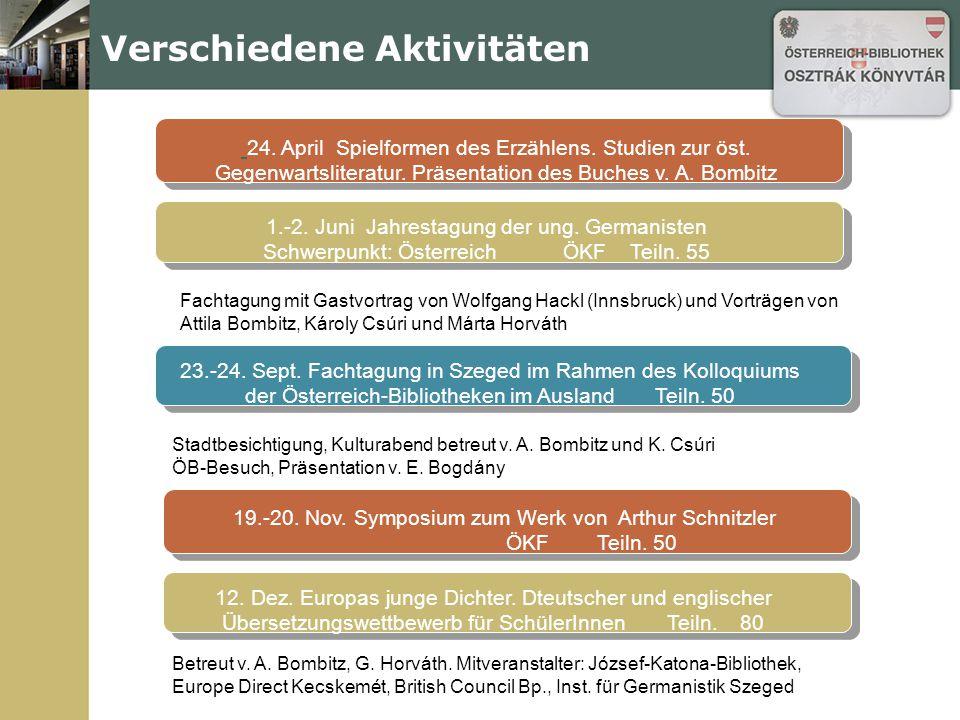 Verschiedene Aktivitäten Fachtagung mit Gastvortrag von Wolfgang Hackl (Innsbruck) und Vorträgen von Attila Bombitz, Károly Csúri und Márta Horváth 19.-20.