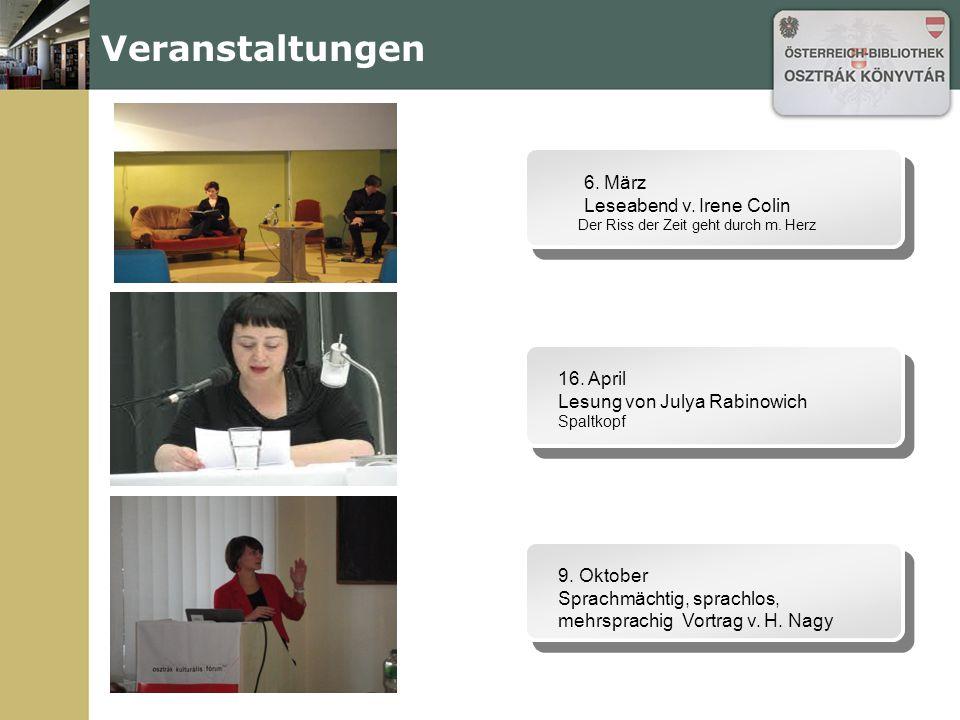 Veranstaltungen 6. März Leseabend v. Irene Colin Der Riss der Zeit geht durch m.