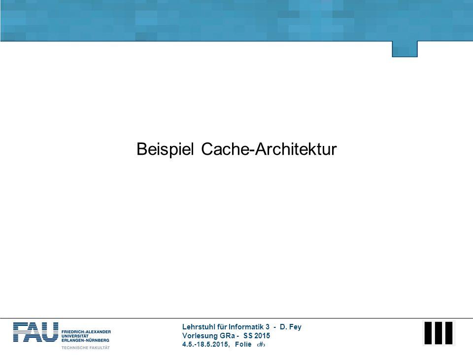 Lehrstuhl für Informatik 3 - D. Fey Vorlesung GRa - SS 2015 4.5.-18.5.2015, Folie 1 Beispiel Cache-Architektur