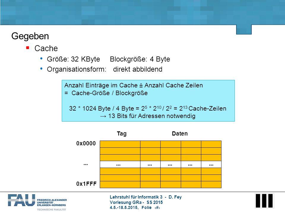 Lehrstuhl für Informatik 3 - D. Fey Vorlesung GRa - SS 2015 4.5.-18.5.2015, Folie 2 Anzahl Einträge im Cache ≙ Anzahl Cache Zeilen = Cache-Größe / Blo
