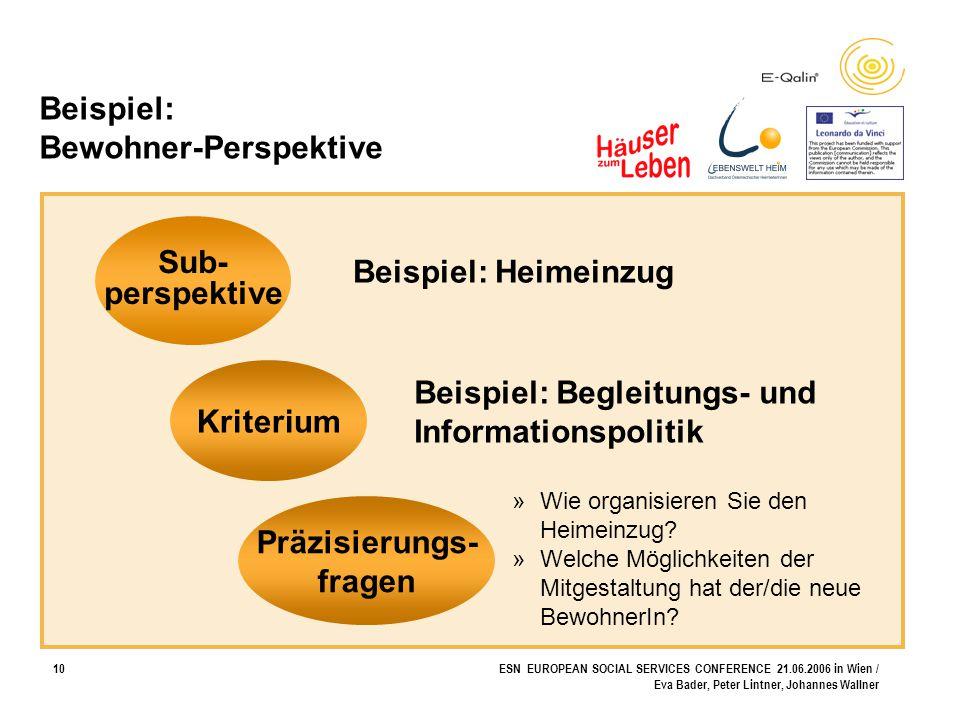 10ESN EUROPEAN SOCIAL SERVICES CONFERENCE 21.06.2006 in Wien / Eva Bader, Peter Lintner, Johannes Wallner Beispiel: Bewohner-Perspektive Sub- perspekt