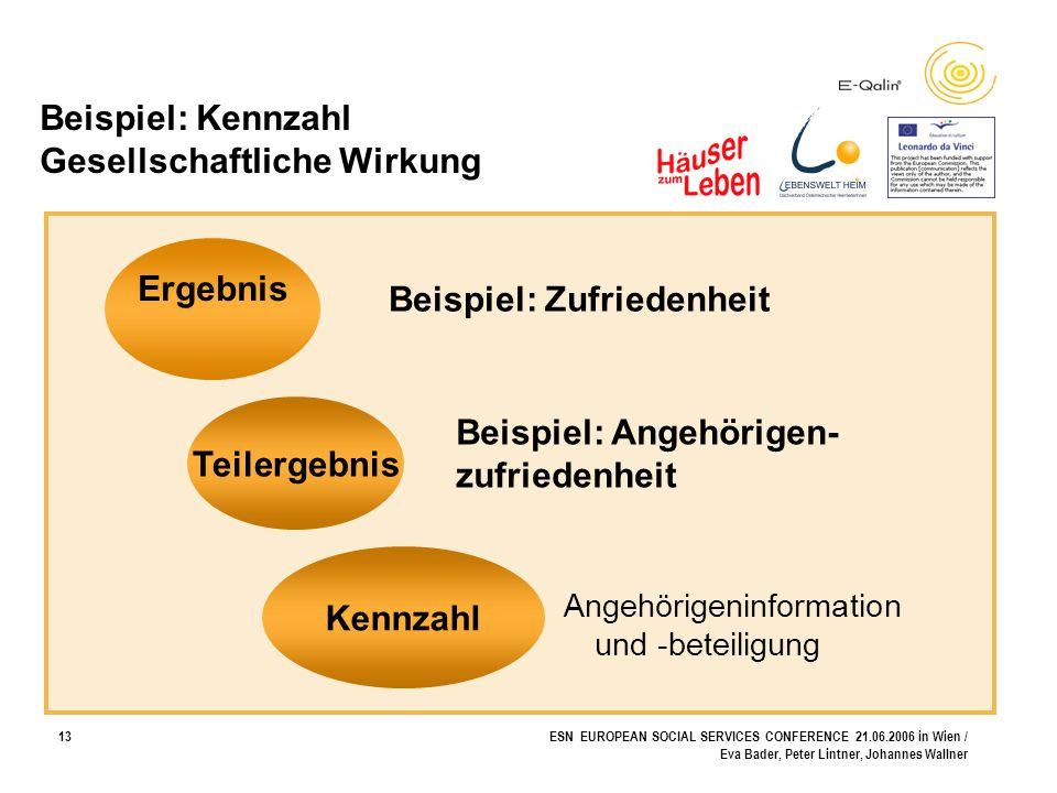 13ESN EUROPEAN SOCIAL SERVICES CONFERENCE 21.06.2006 in Wien / Eva Bader, Peter Lintner, Johannes Wallner Beispiel: Kennzahl Gesellschaftliche Wirkung