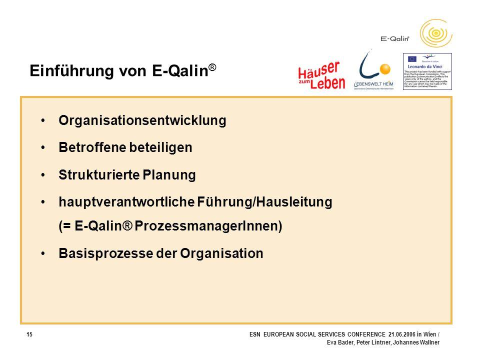 15ESN EUROPEAN SOCIAL SERVICES CONFERENCE 21.06.2006 in Wien / Eva Bader, Peter Lintner, Johannes Wallner Einführung von E-Qalin ® Organisationsentwic