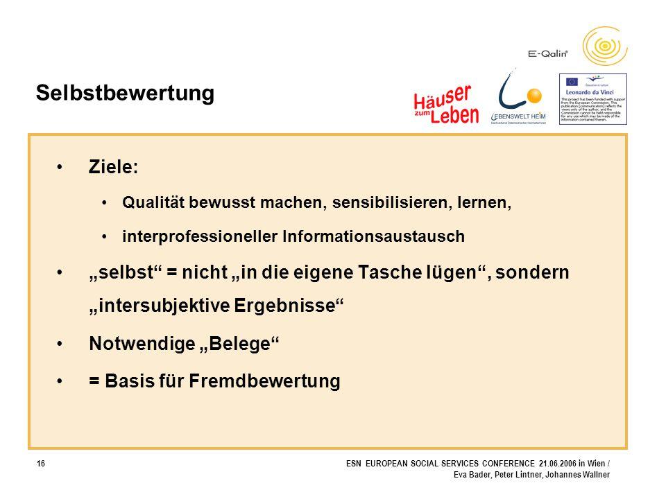 16ESN EUROPEAN SOCIAL SERVICES CONFERENCE 21.06.2006 in Wien / Eva Bader, Peter Lintner, Johannes Wallner Selbstbewertung Ziele: Qualität bewusst mach